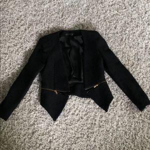 Zara black jacket small gold zippers